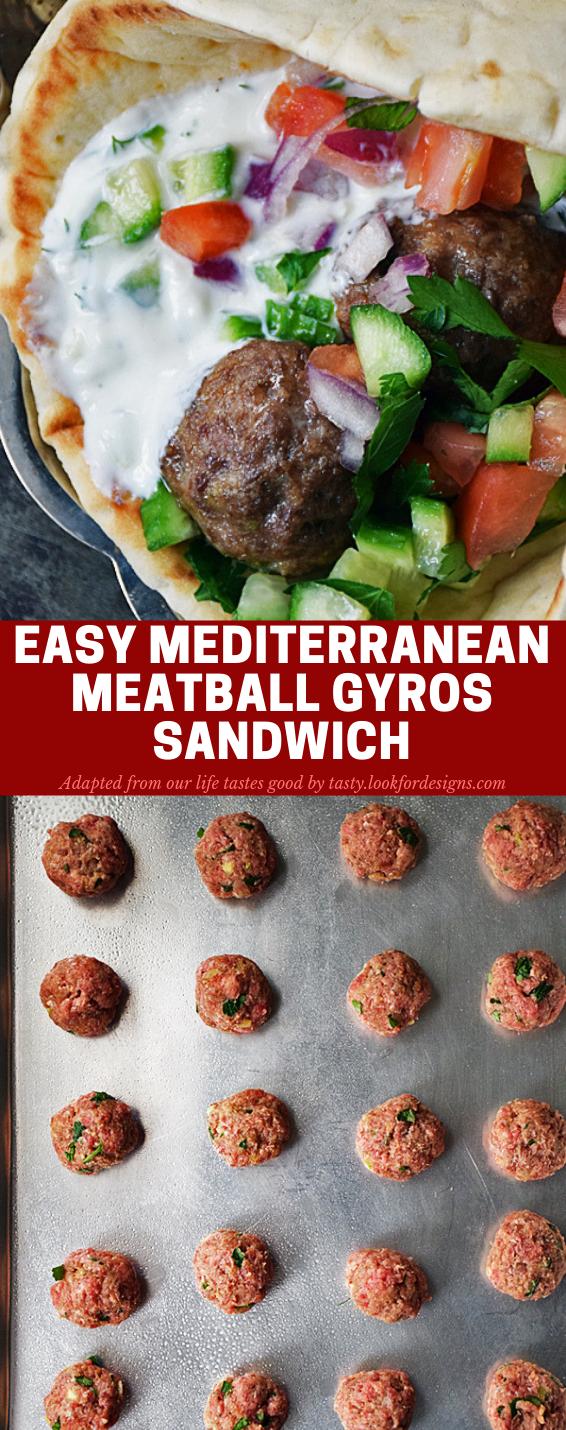 Easy Mediterranean Meatball Gyros Sandwich Recipe