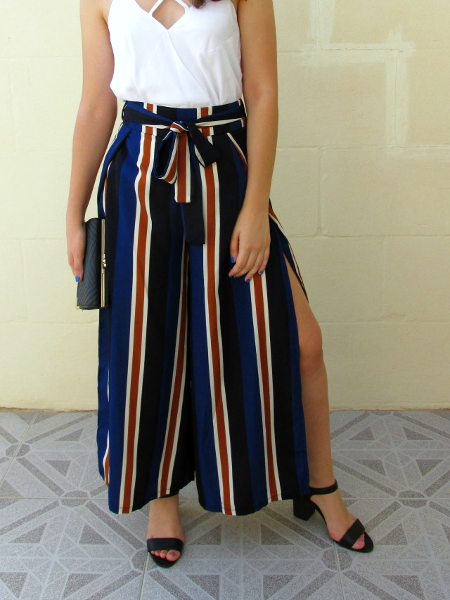 Striped palazzo pants, how to style wide trousers, white cami top, dressfo review