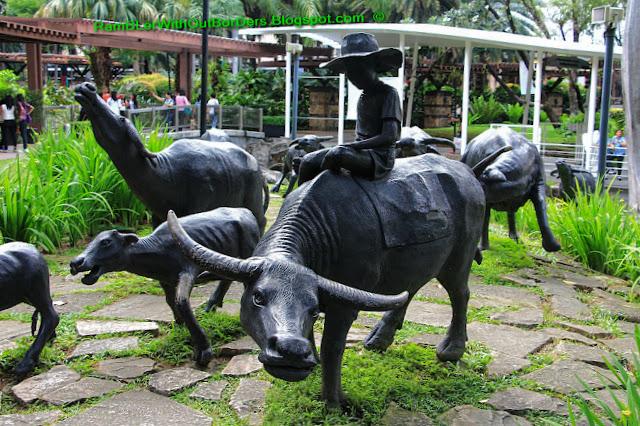 Buffalo sculpture, Greenbelt park, Makati, Manila, the Philippines