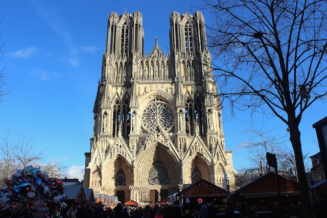 Cathedral and Christmas market in Reims, France