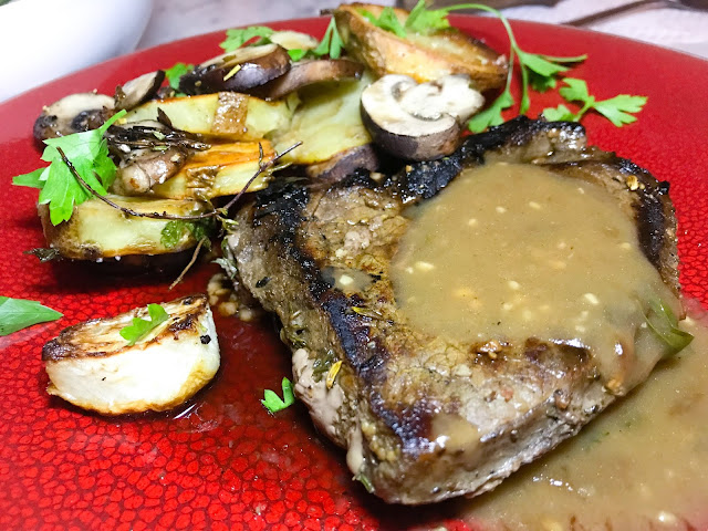 sirloin tip steak topped w pan sauce and roasted radishes, mushrooms, and a potatoes. Photo by Nicole Ruiz Hudson