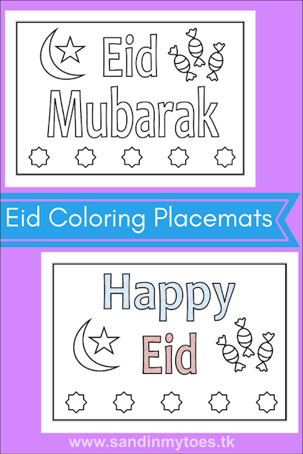 Download these lovely Eid printable placemats for kids that they can colour in!