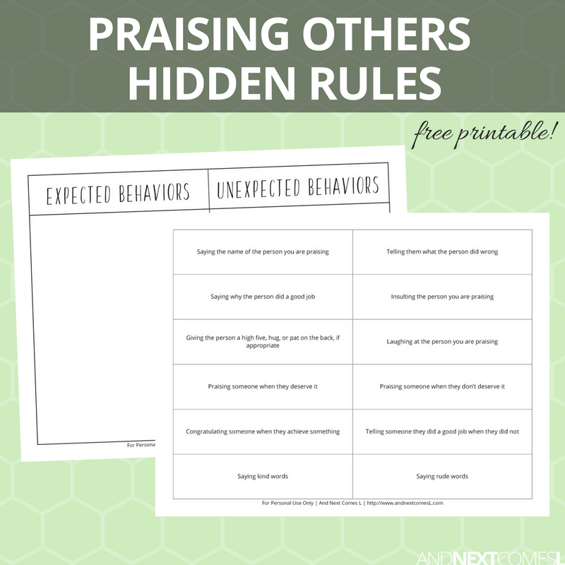 Praising Others Hidden Rules Social Skills Printable And Next Comes L