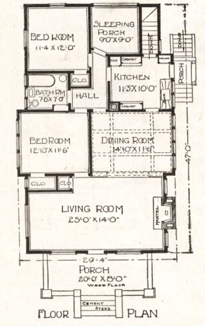 black and white rendering of first floor layout of Sears Belmont 1918