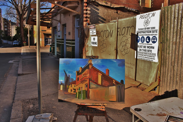 plein air oil painting of the Terminus Hotel, Pyrmont by industrial heritage artist Jane Bennett