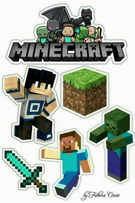 It is a picture of Légend Printable Minecraft Cupcake Toppers
