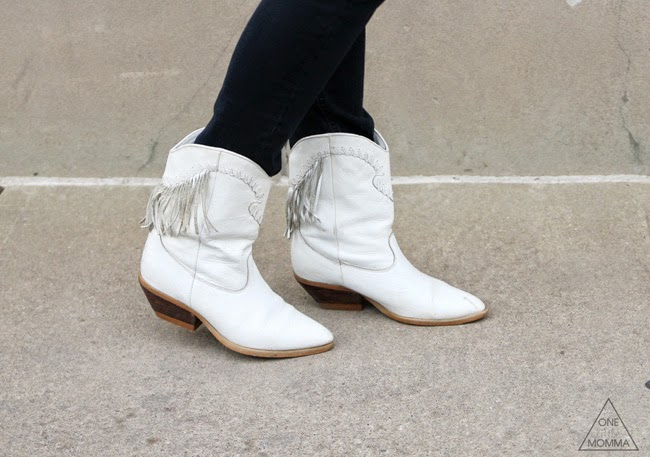 Fringed white cowgirl boots