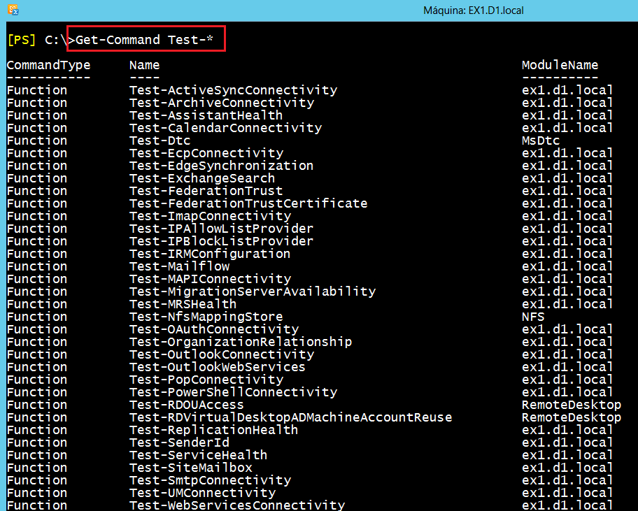 Salida get-command de cmd-lets de test (PowerShell de Exchange).