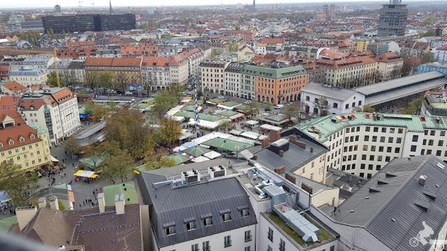 Viktualienmarkt vistas desde la iglesia de San Pedro