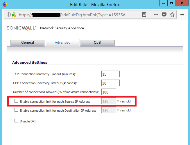 how to temporarily disable sonicwall firewall