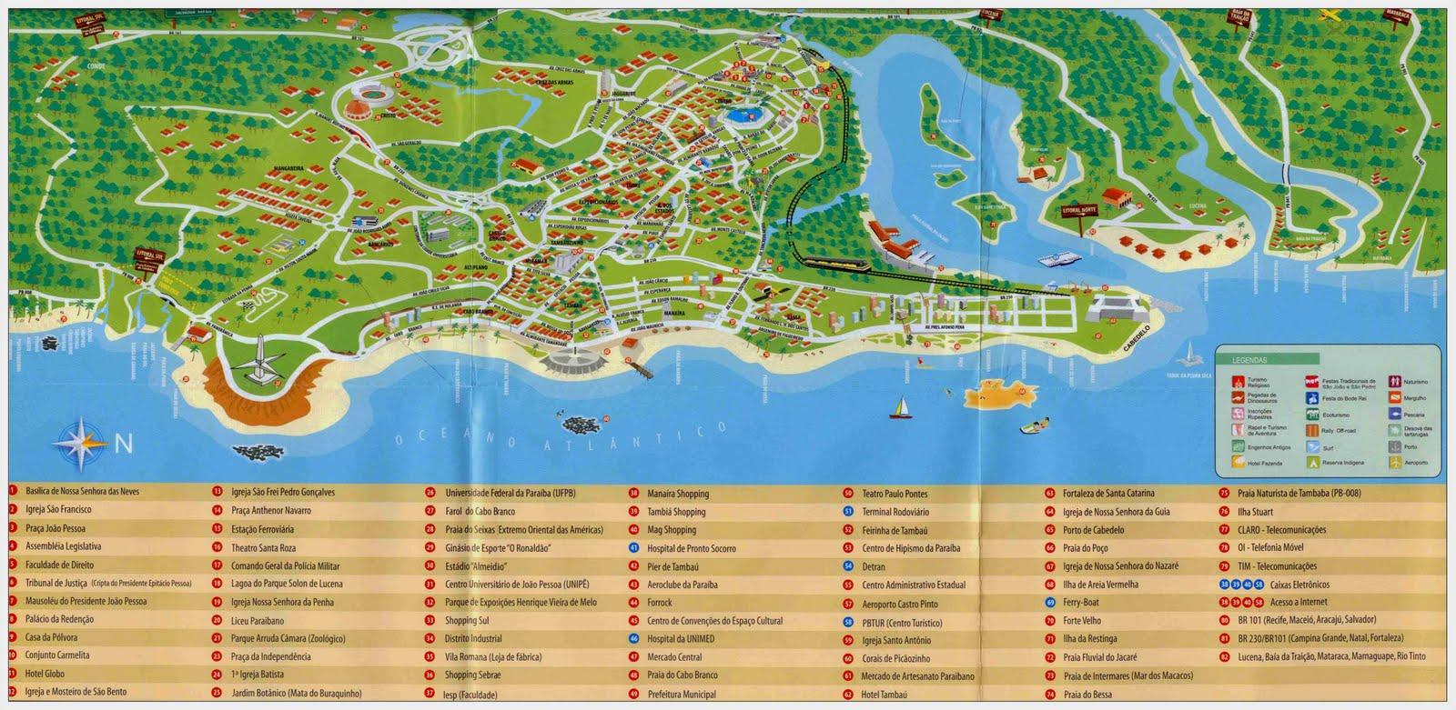joao pessoa mapa Joao Pessoa Mapa Turistico joao pessoa mapa