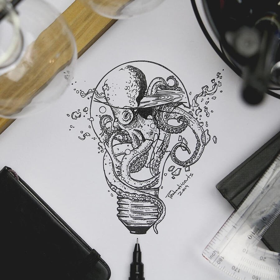 07-Octopus-Light-Bulb-Joseph-Catimbang-Ink-Drawings-in-Various-Styles-www-designstack-co