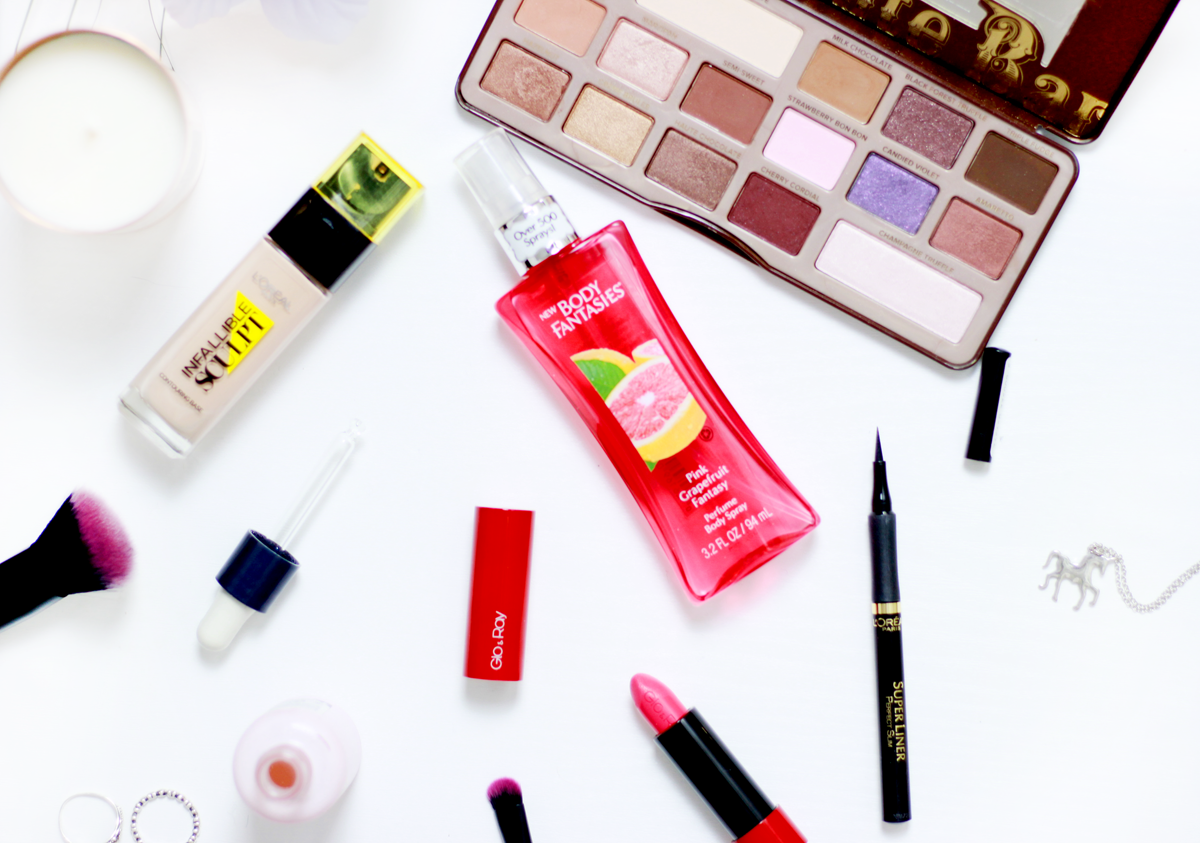 February beauty favourites from brands: Too Faced, L'Oréal Paris, Body Fantasies, The Body Shop, Glo & Ray