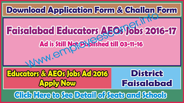 Educators AEOs Jobs 2016-17 in District Faisalabad