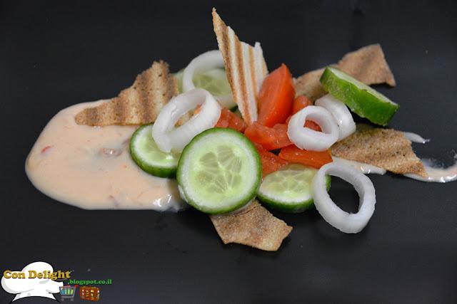 סלט בריאות עם רוטב טחינה  Tahini sauce with salad
