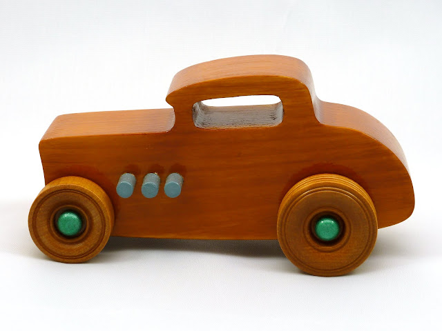 Left Side - Wooden Toy Car - Hot Rod Freaky Ford - 32 Deuce Coupe - Pine - Amber Shellac - Metallic Green - Gray