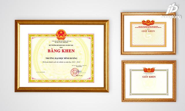 In bằng khen chuyên nghiệp giá tốt nhất chỉ có tại In Hồng Đăng