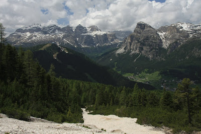 Looking southwest toward Corvara, Colfosco, the Sella Group and Sassongher.
