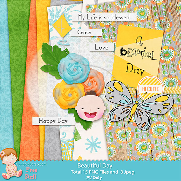 Beautiful Day Digital Scrapbooking Kit -Free Digital Scrap booking Kit