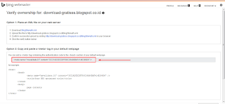 Cara Submit dan Verifikasi Blog di Webmaster Bing