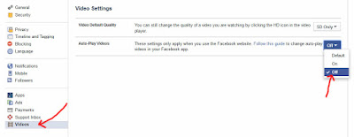 Tahap 3 - Cara Mematikan Facebook Video Autoplay