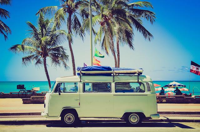 vwe camper van on the beach in summer
