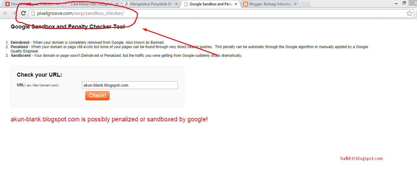 Cek google sandbox di pixelgroove