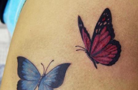 Foto Tattoo Design Butterfly Kupu Di Tubuh Wanita 4
