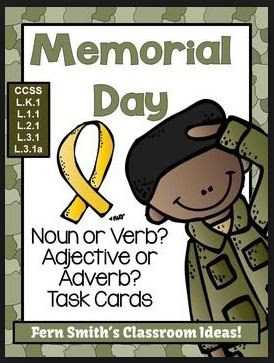 Fern Smith's Classroom Ideas Memorial Day Themed Task Cards for Noun or Verb? Adjective or Adverb? for Common Core!