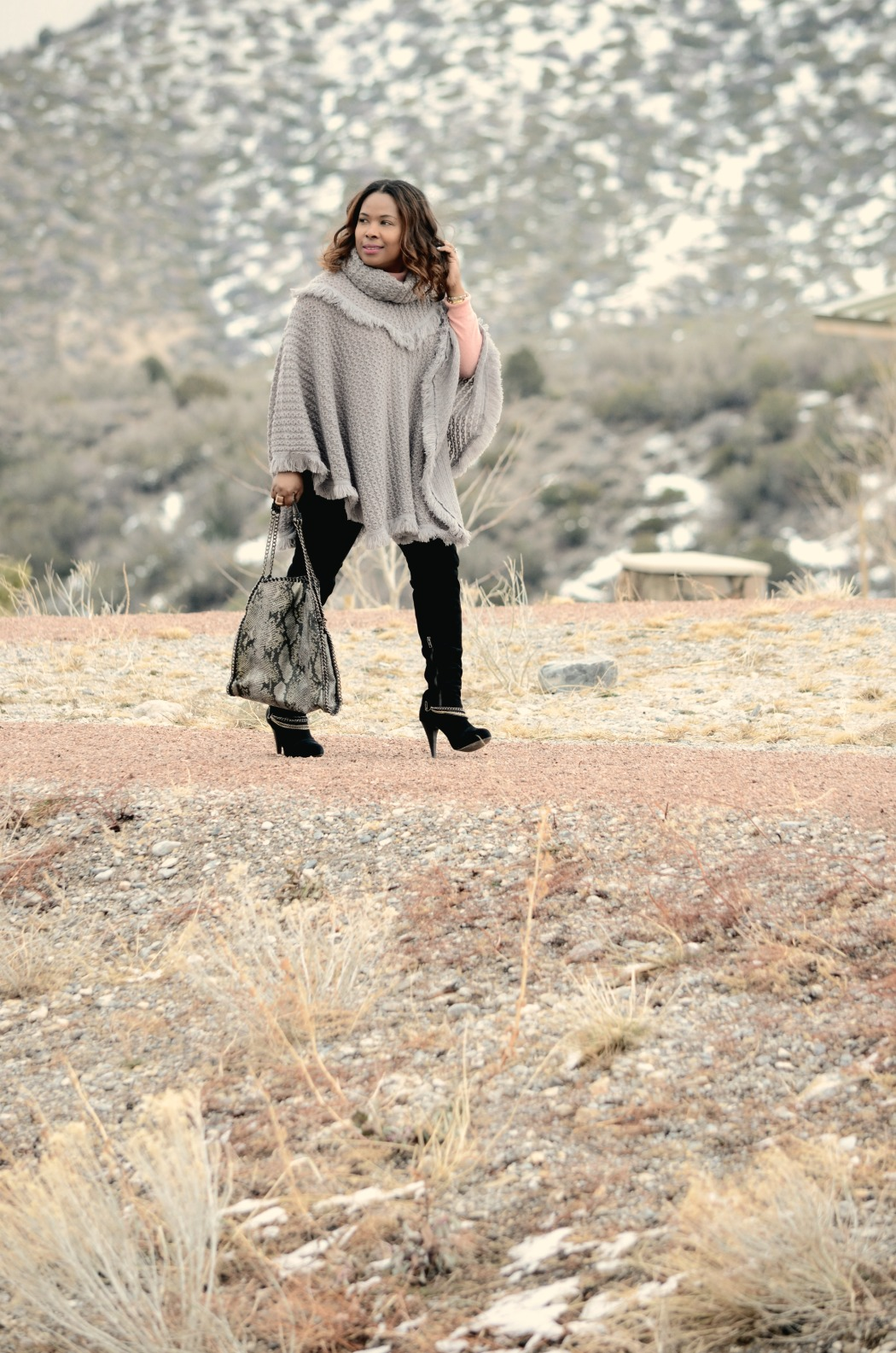 Grey Knit Poncho_Paige Denim Skinny Jeans_Over_The-Knee_Boots_Cashmere_Blush_Sweater