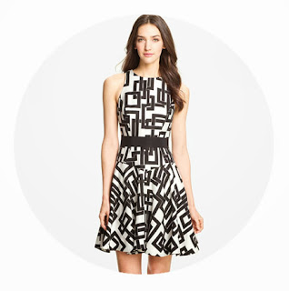 black white maze dress