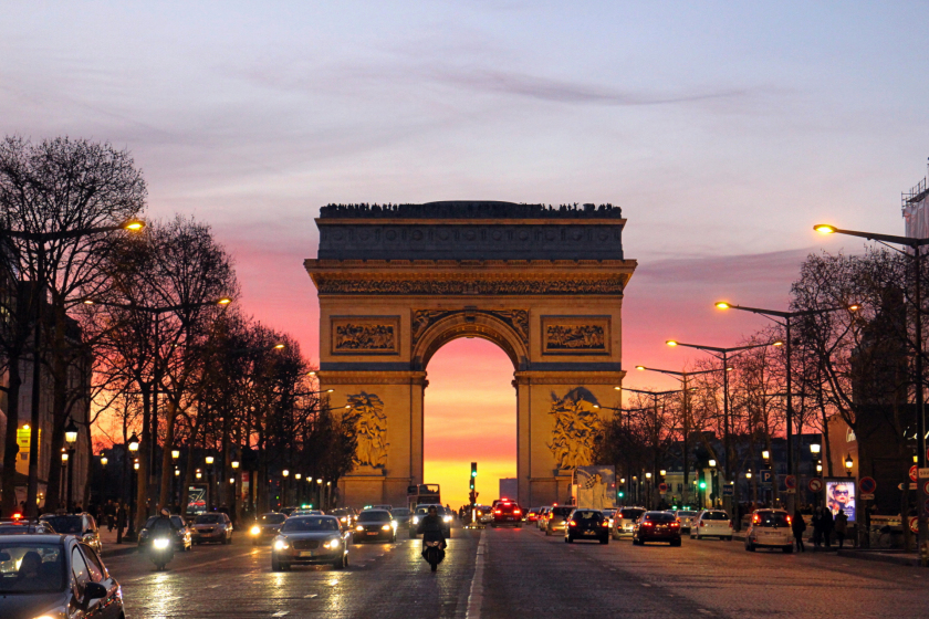 The Arc de Triomphe at sunset, Paris, France.