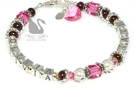 Holly's Custom Pink Garnet Birthstone Mother's Name Bracelet (B212)