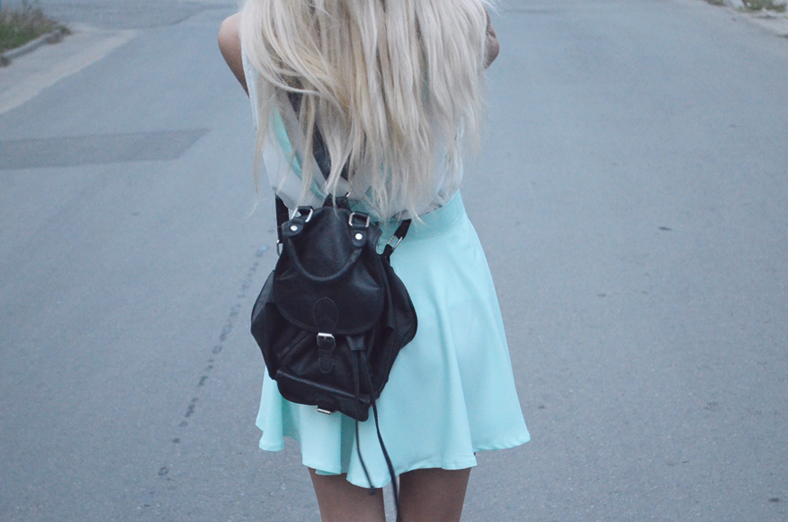MINT SKIRT, LEATHER BACKPACK & PINK CONVERSE