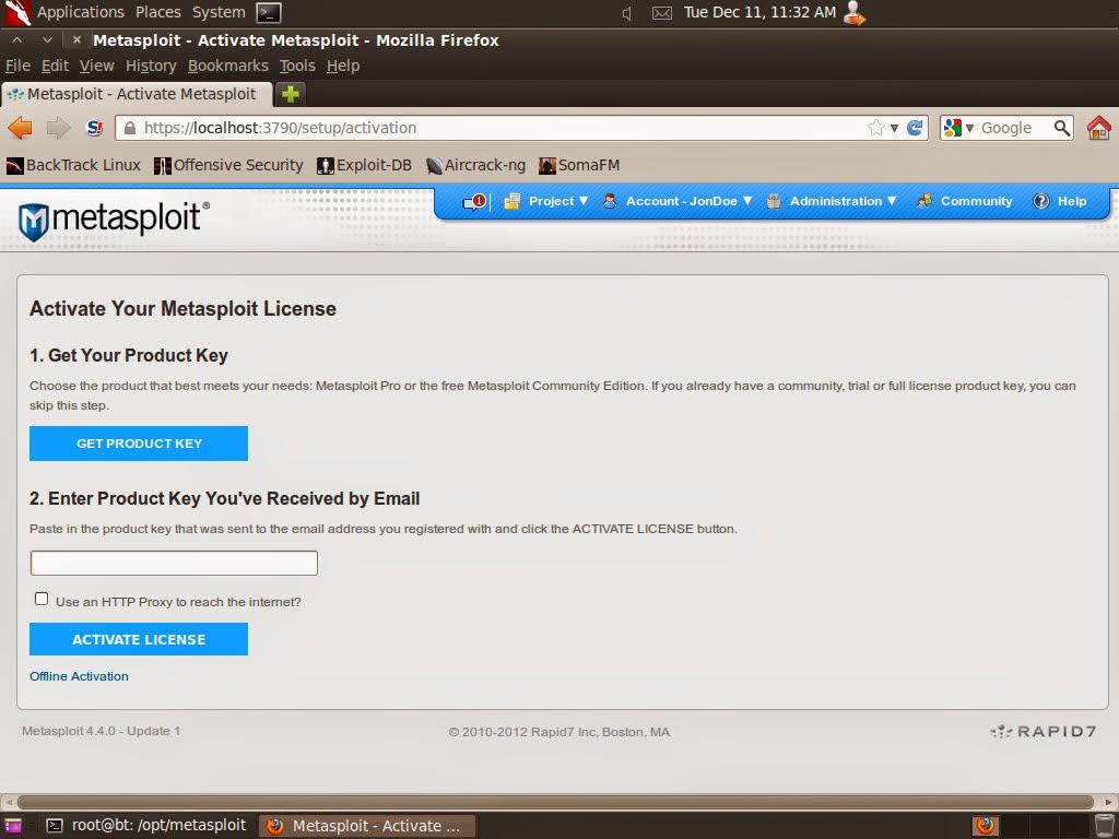 Menggunakan Metasploit Pro di Backtrack 5R3 | 14:28:50