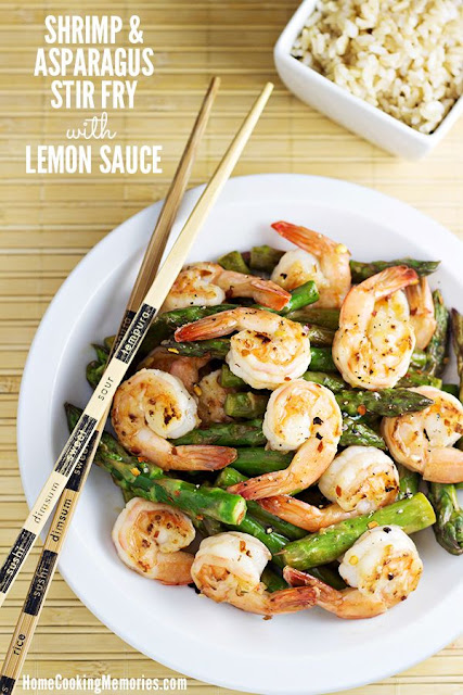 Shrimp and asparagus stir fry with lemon sauce recipe.