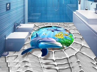 3D floor painting murals for 3D bathroom flooring with epoxy paint 2019