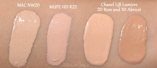 Chanel Lift Lumiere Concealer MAC Swatches