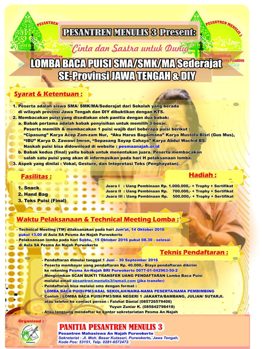 LOMBA BACA PUISI SMA/SMK/MA Sederajat SE-Provinsi JAWA TENGAH dan DIY