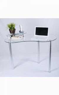 Clear Small Glass Corner Desk With Monitor Stand