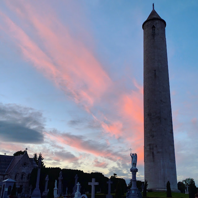 Sunset over Glasnevin Cemetery in Dublin Ireland