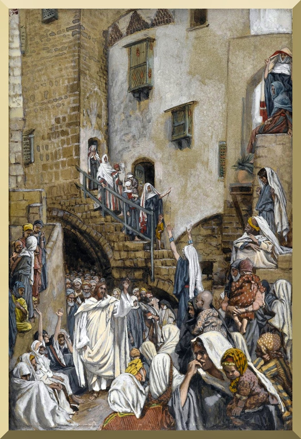 """A Woman Cries Out in a Crowd"" -- by James Tissot"