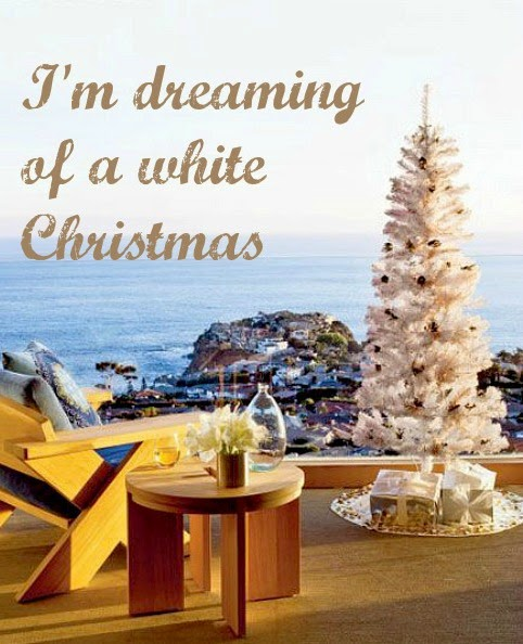 white Christmas tree in a beach home