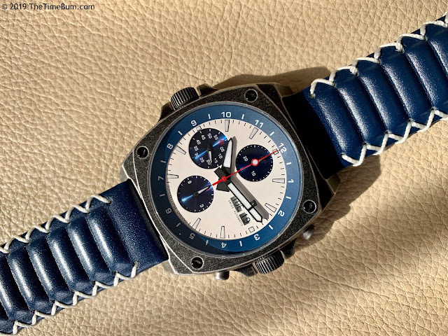 Jubileon Superellipse Chronograph Blue on White Vintage Gunmetal leather