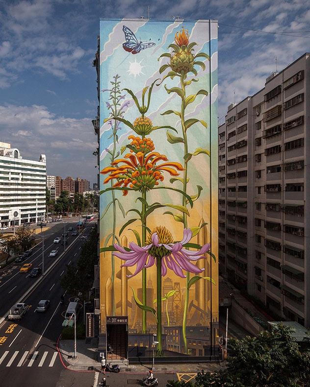 Murales altísimos de plantas en paredes urbanas por Mona Caron