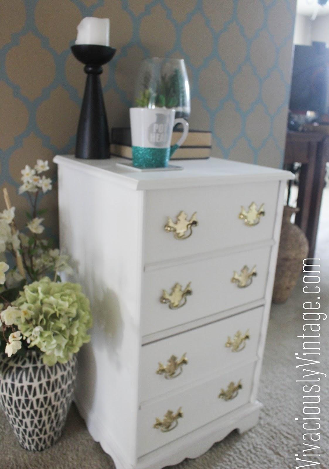 Ansley Designs: Vintage White & Gold Filing Cabinet
