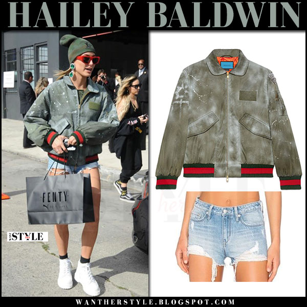 Hailey Baldwin in green bomber gucci ghost jacket and denim shorts what she wore april 2017