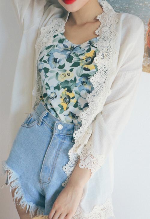 Lace-Trimmed Kimono Cardigan