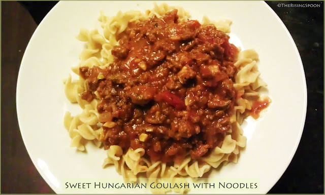 Sweet Hungarian Goulash with Noodles | www.therisingspoon.com