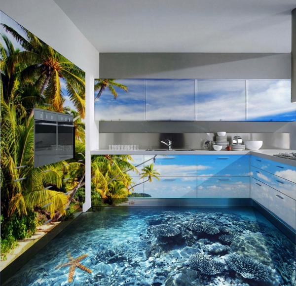 Beautiful 3d flooring installation in kitchen with water theme cabinets